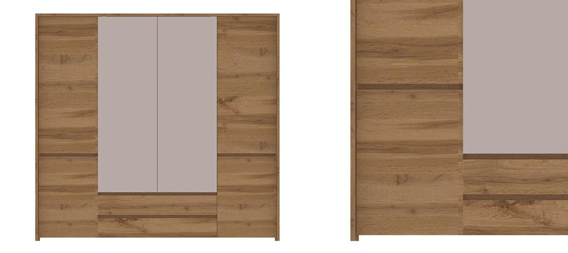 czterodrzwiowa szafa z lustrem i szufladami