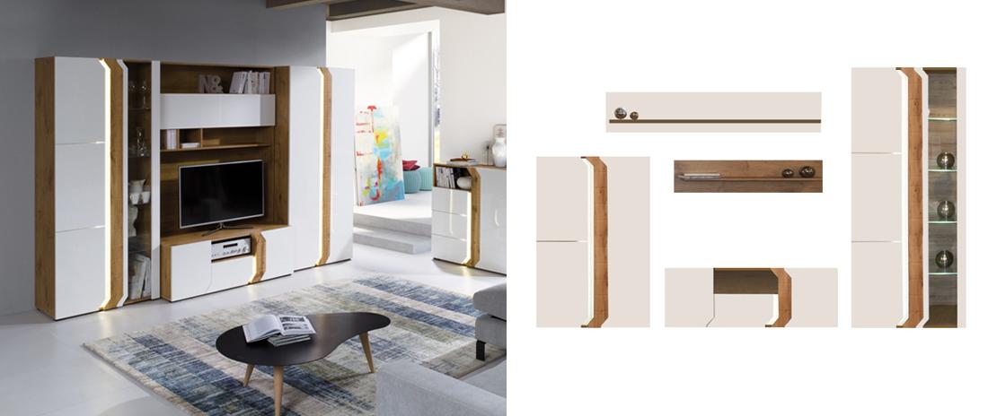 nowoczesny zestaw mebli do salonu