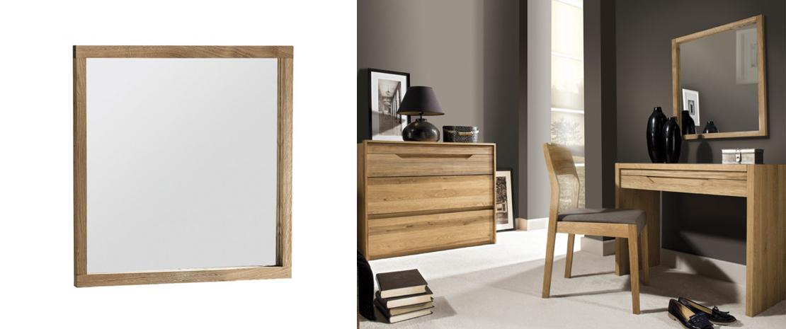 prostokątne lustro z drewnianą ramą