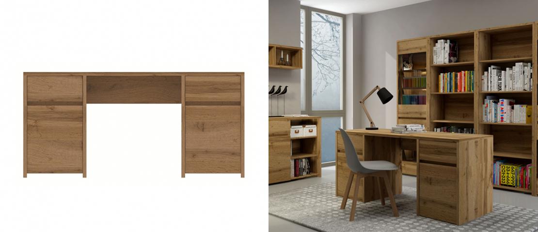 solidne biurko w kolorze brązowym