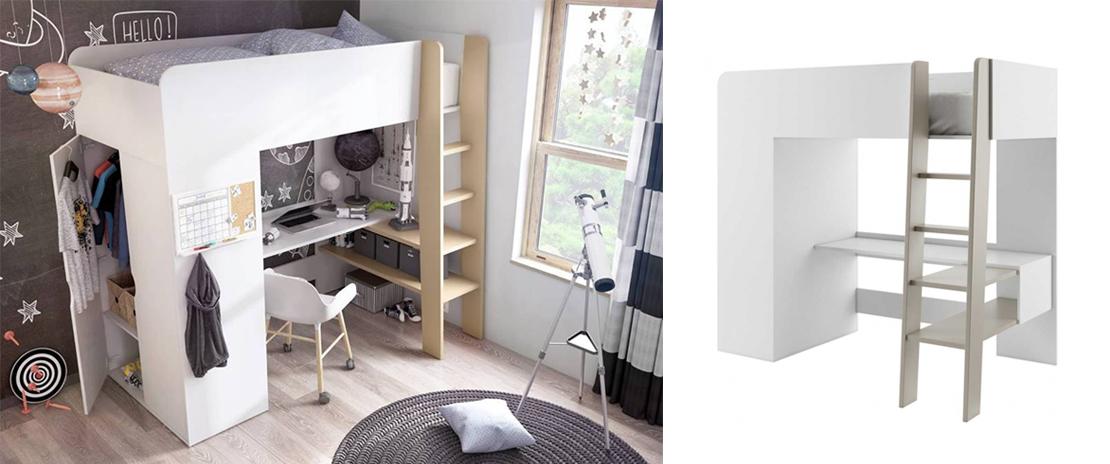 łóżko piętrowe wraz z biurkiem i szafą