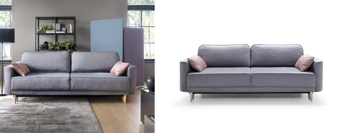 rozkładana sofa z poduszkami