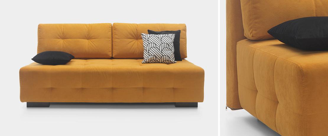 sofa bez boków w kolorze żółtym